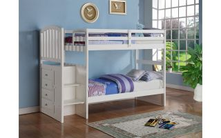 Donco White Twin over Twin/Twin over Full Mission Stairway Bunkbed