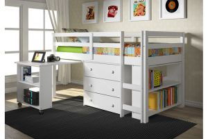 Donco Twin Low Loft Bed with Desk, Chest, and Bookcase