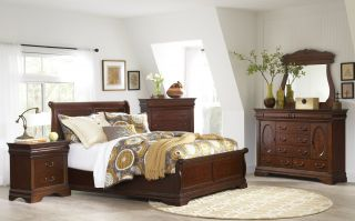 Elements Chateau Low Profile 6 Piece Set (Headboard, Footboard, Rails, Bureau, Mirror, and Nightstand)