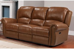 Leather Italia Howard Peanut Butter Leather Power Loveseat